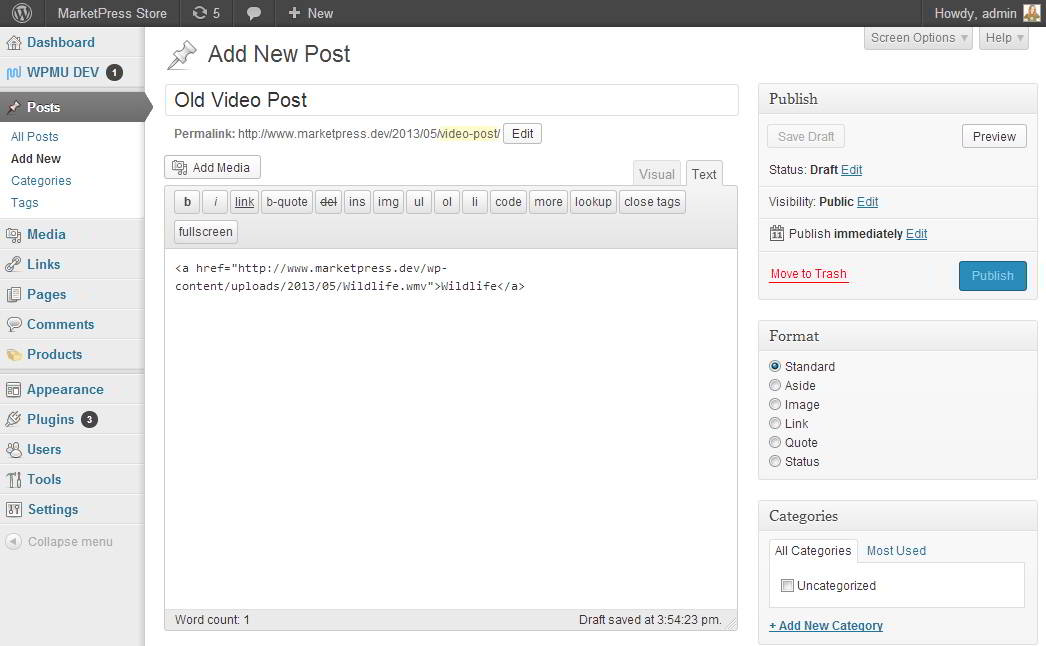 anterior post con video en wordpress