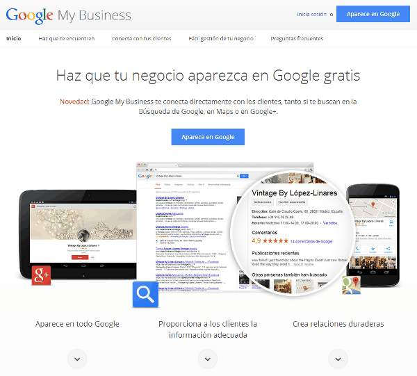 Página de inicio de Google My Business