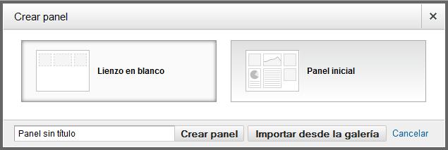 Cuandro de diálogo para crear panel de Google Analytics